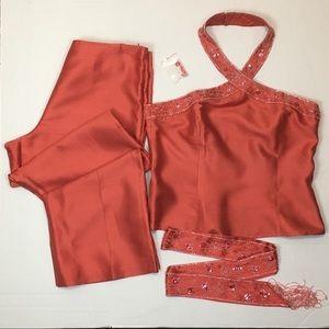 Bloomingdales Silk Pant Suit - Coral